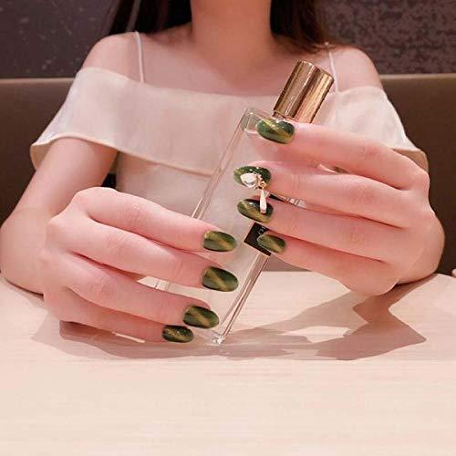 CLOAAE 24 pcs/box Finished green fake press on nails Patch Fresh Avocado Green Shiny 3D Rhinestone Charm Cat Eye short nails with