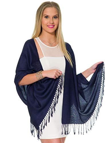 Pashmina Shawls and Wraps for Evening Dresses, Large Soft Pashmina Wedding Navy Deep Blue Shawl