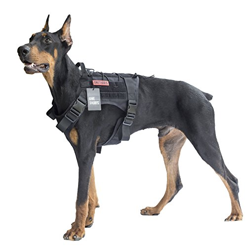 OneTigris Tactical Dog Harness - Fire Watcher Comfortable Patrol K9 Vest (Black, Large)