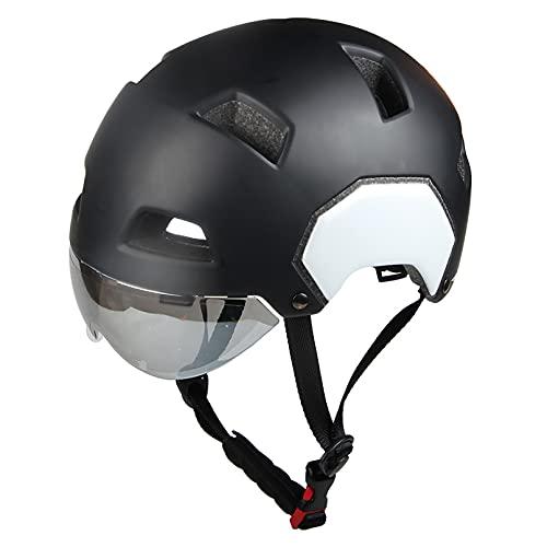 HUSTLE Casco de Bicicleta Unisex Casco de Bicicleta Protegido para Carreras de Ciclismo Skateboarding al Aire Libre Seguridad Superligero Ajustable,Negro,M