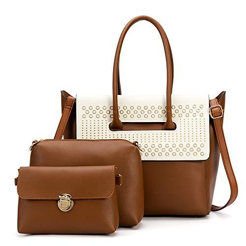 Retro mode, dames lederen handtas, grote capaciteit moeder schoudertas, messenger bag + clutch bag portemonnee portemonnee, figuurpakket