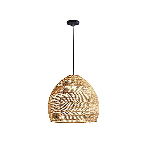 Suspension Luminaire Rotin, Lustre Rotin Tressée Naturel Lampe Pendante en Rotin, Bois en Couleurs Naturelles, Lampe de Table à Manger (35cm)