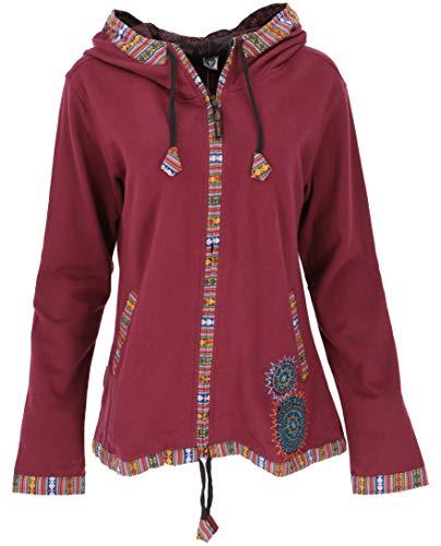 GURU SHOP Nepal Ethno Jacke, Bestickte Jacke, Damen, Bordeauxrot, Baumwolle, Size:S (36), Boho Jacken, Westen Alternative Bekleidung