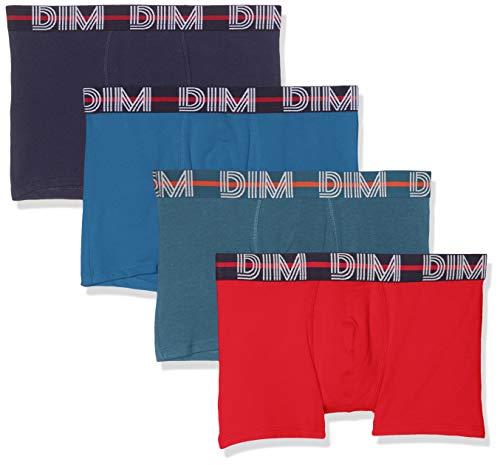 Dim Herren Boxer Powerful X4 Boxershorts, Mehrfarbig (Rouge Baie/Bleu De Nuit/Bleu Cobalt/Gris Bleu 9hg), Large (Herstellergröße: 4) (4er Pack)