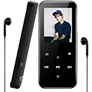 Aigital Bluetooth MP3 Player 16GB, Portable Hi-Fi Music Player Lossless Sound with Headphones, FM Radio, Recording, Pedometer function for Adult, Kids, Entertainment, Running-Support up 128GB-F37