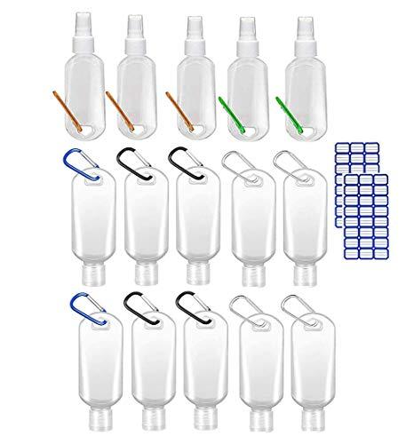 Gaderform - Botellas de viaje portátiles de 50 ml, rellenables, transparentes, vacías con gancho mosquetón, contenedores líquidos para escuela al aire libre