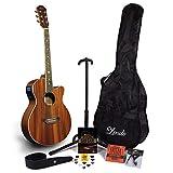 Lindo Guitars Guitare électro-acoustique Feeling avec accordeur LCD XLR/sac de transport et riche Lot d'accessoires (Sac de transport, support de guitare, cordes, sangle, 10médiators, DVD, Capo)