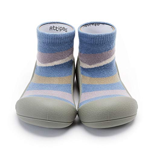 [Attipas] アティパス ベビーシューズュ [タウン] 洗濯機 丸洗いOK 靴下セット かわいいベビーシューズ 滑り止め ラバー 出産祝い プレゼント あんよの練習 保育園靴 ソックスシューズ プレシューズ 室内履き 13.5 ブルー