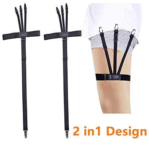 LINCKIA 2 IN 1 Hemdhalter Herren Shirt Stays - Hosenträger Abnehmbar Hemd Halter/Sockenhalter mit elastische und rutschfeste Sperrung Schellen Hemdhakter (1 Paar )