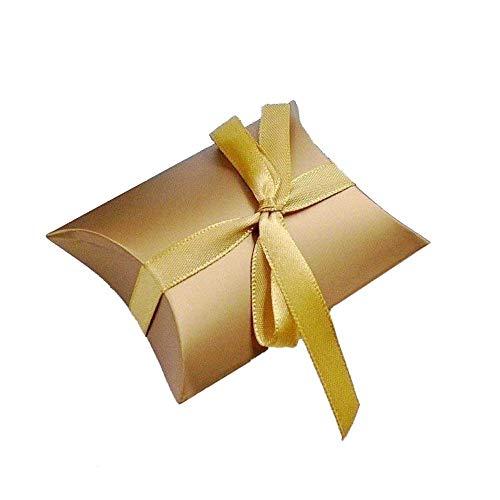 JZK 50 x Caja de regalo para caramelos regalo bombones dulce confeti Invitación con cinta para boda bautizo cumpleaños Navidad graduación comunión, oro