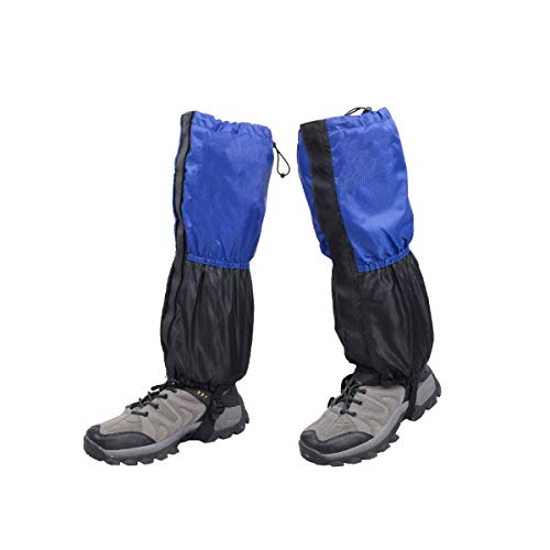 Azarxis - Polainas de Forro Polar para piernas, Impermeables, para Botas de Nieve, Senderismo, Escalada, Caza, Ciclismo, montaña (Azul y Negro)