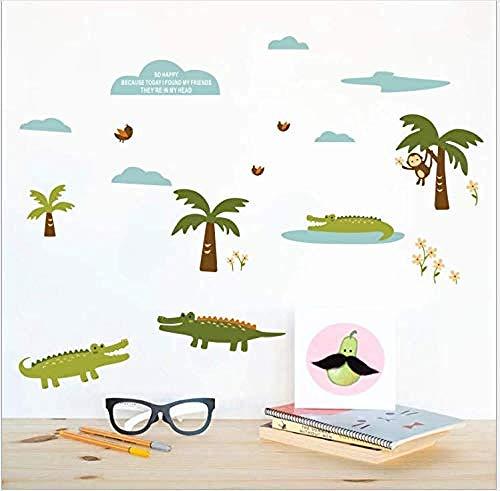 Wppaper Nettes Tier Krokodil AFFE Wandaufkleber Pflanze Kokosnussbaum Kinder S Zimmer Wohnzimmer Schlafzimmer PVC Selbstklebendes Papier