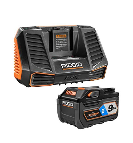 Ridgid 18V Bluetooth 9.0Ah Lithium-Ion Battery Starter Kit with Charger AC801