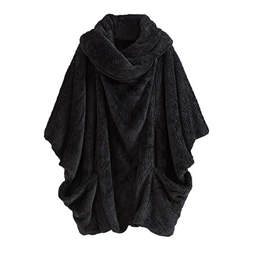 OverDose Damen Wärmemantel Sweatjacke Women Casual Hoodie Winter Solide Reißverschlusstaschen Unregelmäßige Cardigan Dating Party Elegant Dünner Mantel Outwear(X-Schwarz, 40 DE/XL CN)