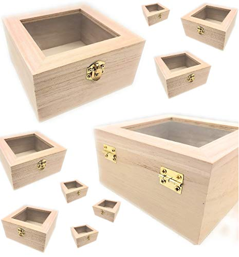 Oojami 10 pc Set Unfinished Wood Craft Box with Window for Arts, Crafts and Birthday Party Favor DIY