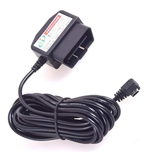 Coche OBD2 Dash Cámara DVR Carga Cable Micro USB adaptador con botón de interruptor - 16Pin OBD2 Conector Directo Cargador para Gps Videocámara Tablet E-perro Teléfono - 11.5FT 12-24V