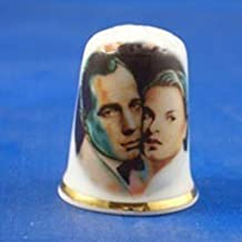 Porcelain China Collectable Thimble - Humphrey Bogart & Ingrid Bergmann in Casablanca - Free Gift Box