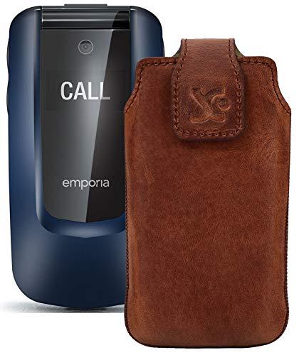 Suncase Original Tasche kompatibel mit Emporia Comfort Hülle Leder Etui Handytasche Ledertasche Schutzhülle Hülle in antik Coffee