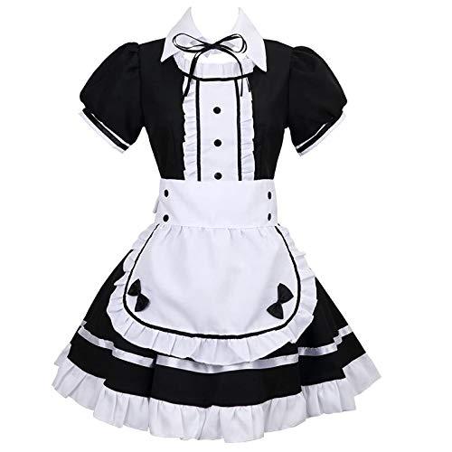 Hopoter Damen Maid Cosplay Kostüm Kleider Sexy Lolita Kleid Maid Dress mit Weißer Schürze und Kopfbedeckung Uniformen Abendkleid Party Festlich Karneval Kostüm