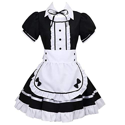 Bhugkn Women Anime Maid Dress Adult French Apron Fancy Cosplay Short Sleeve Outfit Clubwear Fancy Dress (L, White)