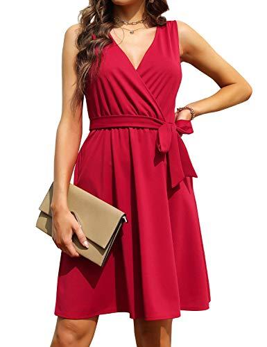 FANCYINN Damen ärmelloses Wickelkleid A-Linie Swing Party Cocktailkleider mit V-Ausschnitt, Taschen und Gürtel Rot M