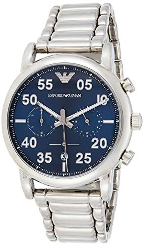 Emporio Armani Men's Chronograph Quartz Watch with Stainless-Steel Strap, Silver, 22 (Model: AR11132)