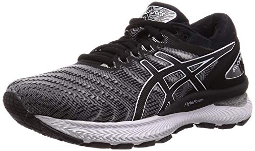 Asics Womens GEL-NIMBUS 22 Running Shoe, White/Black, 40 EU