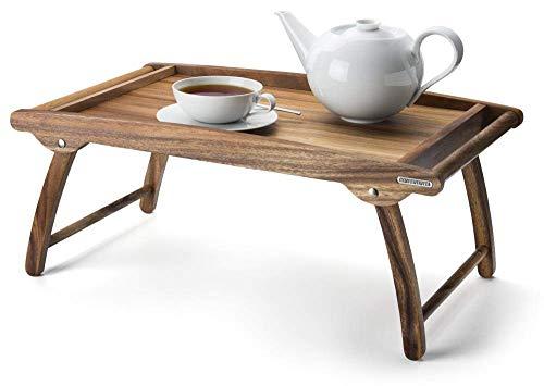 Continenta - Plateau de lit - en Bois d'acacia - Idéal pour Le Petit-déjeuner au lit - Dimensions : 61 x 35 x 7 cm.
