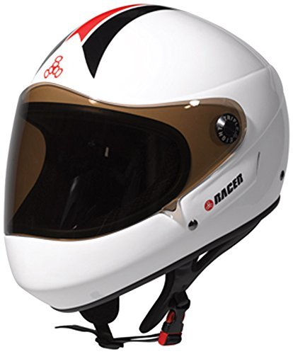 Triple Eight Downhill Racer Full Face Helmet, White Glossy, X-Small