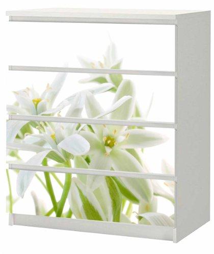 SLK-Shop Aufkleber für IKEA Malm Kommode 80x100cm White FlowersMöbeltattoo Sticker