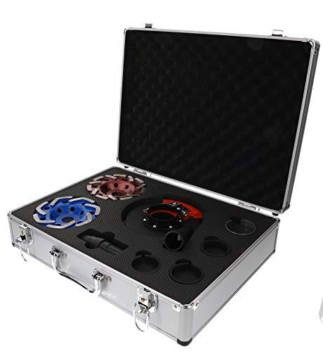 PRODIAMANT Schleifteller Set 125 mm mit passender Absaughaube für Winkelschleifer mit M14 Aufnahme 125mm Bohrung 22,23 in stabilem Koffer