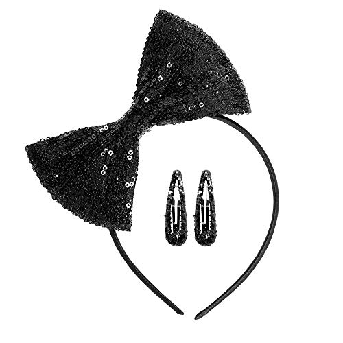 Widmann 01979 jaren 80 pailletten haarband, dames, zwart