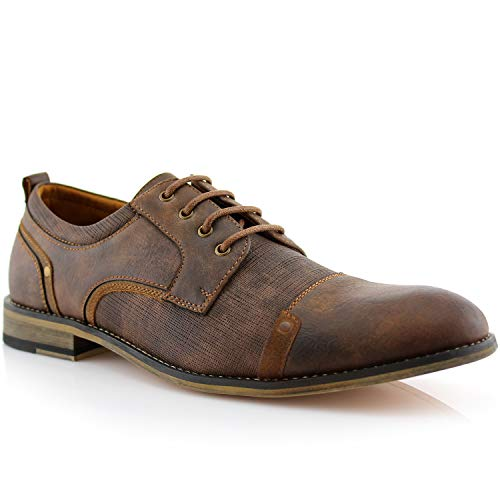 Ferro Aldo MFA19619L Trevor Classsic Cap-Toe Lace-Up Leather Lined Round Toe Business Casual Dress Oxford Shoes Brown