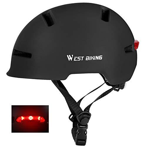 Casco da skateboard con luce posteriore, casco da bicicletta regolabile, per adulti, protezione per la testa per uomini, donne, ragazzi, scooter, pattinaggio in linea