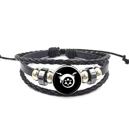 THj Ouroboros Glass Jewelry With Glass Cabochon Black Leather Bracelet Bangle For Unisex Party Gift