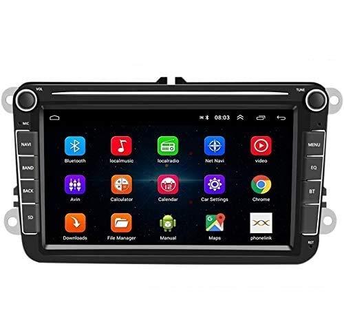 Radio Coche 2 DIN Android 8.1 Bluetooth 8' TFT Capacitiva Pantalla táctil Reproductor MP5 para Coche con GPS FM Am Radio Enlace de Espejo, Receptor para VW