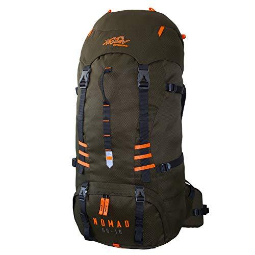 Tashev Outdoors Nomad Sac à dos de randonnée pour homme et femme 60 l Plus 10 l (fabriqué en UE) (vert et orange)