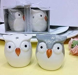 Salt and Pepper Shaker Set Owl Couple Design Ceramic Decorative Home Restaurant Dining Room Table Kitchen Decor Spice Cont...