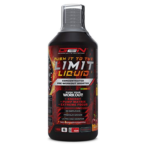 Push it to the Limit Liquid 1000 ml – Hochdosierter Pre Workout mit L-Arginin + Citrullin + Beta Alanin + Taurin + L-Norvalin + Koffein - Extra Starke Formel - Flüssig - Vegan