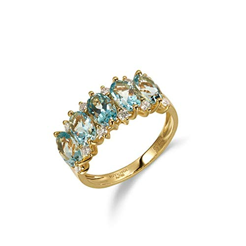AmDxD oro amarillo 18 quilates (750) oval-shape Blue White Aquamarine