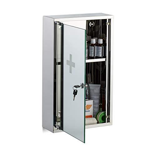 Relaxdays, Silber Medizinschrank aus Edelstahl, abschließbare Spiegeltür, 2 Fächer, Arzneischrank, HBT: 50 x 30 x 11 cm