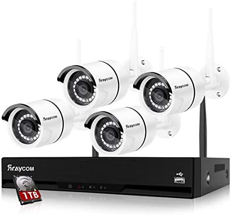 Rraycom 4CH Wireless Security Surveillance System H 265 1080P NVR with 1TB Hard Drive and 4 product image