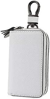 キーケース ダブルファスナー スマートキーケース 2つ 鍵が同時収納 車キーケース メンズ レディース 革 プレゼント (ホワイト)