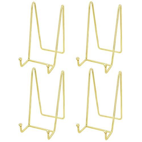 HCHLQLZ (4 Stück) Gold Metall Tellerständer Tellerhalter Eisen Staffelei Display Ständer für Schüssel Teller Kunst Foto Bilderrahmen-6inchx3inch