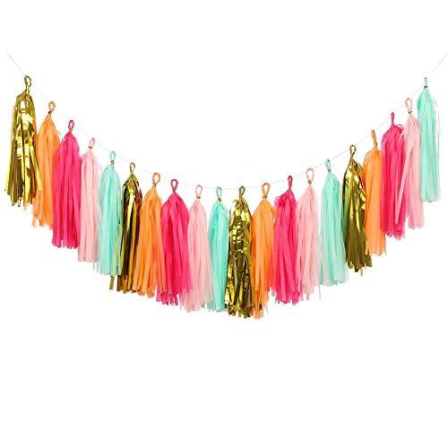 KOKER 20 PCS DIY Tassel Garland Tissue Paper Tassel Banner Pompom for Wedding, Bachelorette, Baby Shower, Birthday, Fiesta Fringe Party Banner, Home Decorations (Gold,Mint,Pink,Orange)