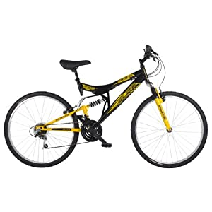 Mountain Bikes Flite Taser II Mens' Mountain Bike Black/Yellow, 18″ inch steel frame, 18 speed fully adjustable rear shock unit front suspension forks [tag]