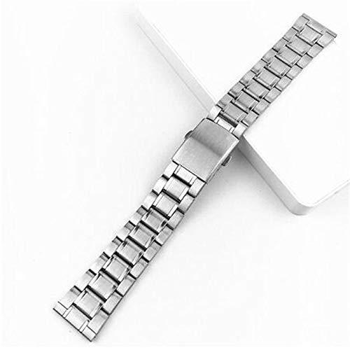 LIANYG Correa De Reloj Acero Inoxidable 12/14 / 16/18/20 / 22mm Correa de Reloj Pulsera de Pulsera de Plata Color de Plata Reloj de Metal con Cierre Plegable para Hombres Mujeres