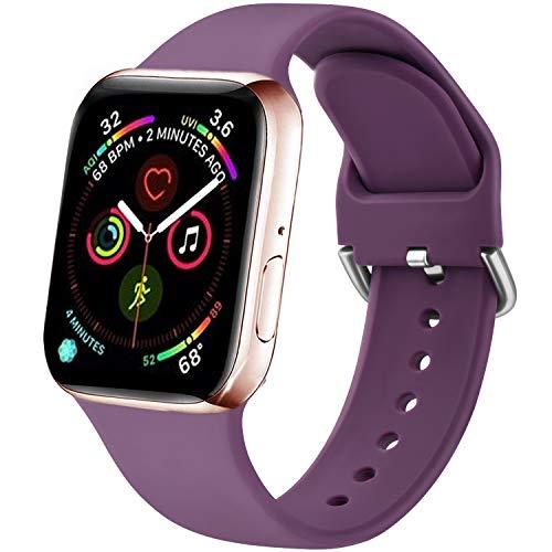 Funeng - Correa compatible con Apple Watch de 38 mm, 40 mm, 42 mm, 44 mm, nueva correa de silicona deportiva suave para iWatch Serie 6, 5, 4, 3, 2,1 (42/44 mm, S/M, 06violeta)
