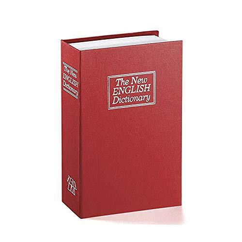 Mousyee Caja Fuerte de Diccionario, Caja de Seguridad en Forma de Libro, Caja Fuerte para Libros de Diversión, Caja de Almacenamiento Pequeña, Adecuada para Cosas Personales (Rojo)