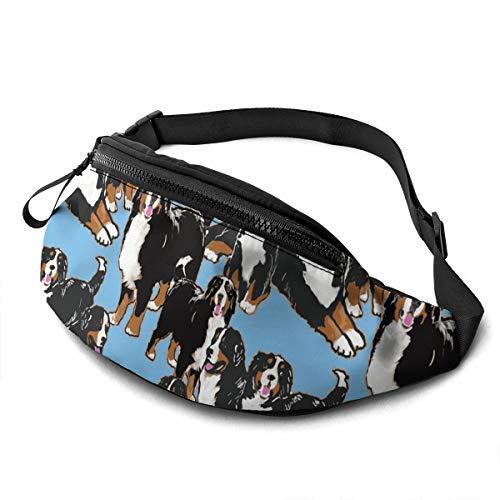 Bernese Mountain Dog Large Fanny Pack Sports Belt Waist Pack Shoulder Bag Bum Bag Hip Sack For Hiking Running Traveling Rave